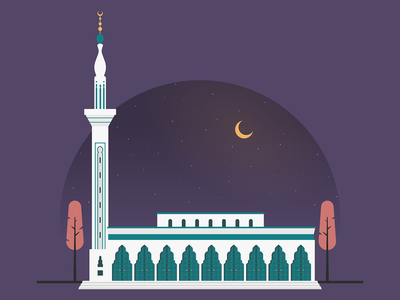 Syrian Mosque - Tangier minimalist design flat design flat illustration geometric patterns mosque islamic pattern