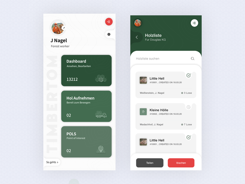 Timber and Forest app dashboard ui vector icon illustration typography latest trend mobile ui