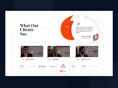 Client testimonial Screen