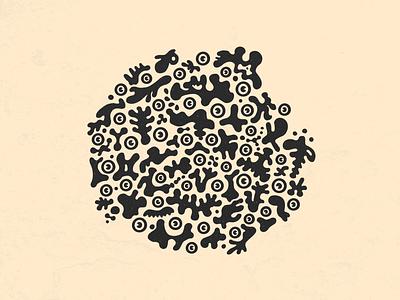 Blobbosphere cutouts eyes blobs ink illustration