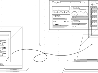 MacBook Pro & Cinema Display (Outline) apple mac macbook cinema display icon graphic image flat design