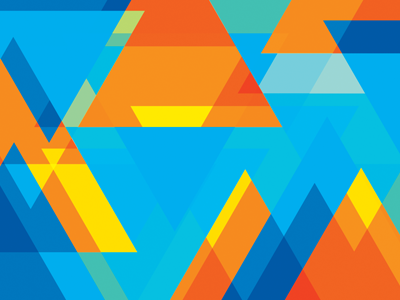 Colours & Shapes triangles brand branding yellow blue shapes colours