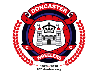Doncaster Wheelers 90th Anniversary Logo Update anniversary special edition branding logo c.c. doncaster wheelers