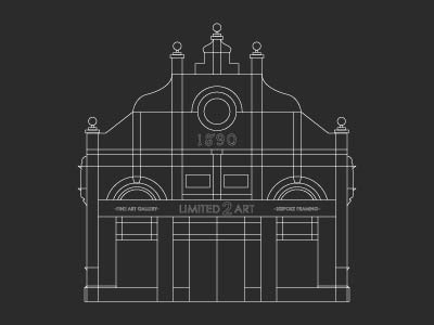 Gallery Outline gallery art building drawing technical outline illustration design graphic