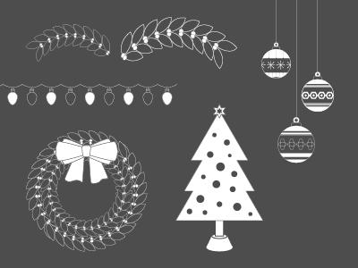 It's Beginning To Look A Lot Like… bauble wreath lights tree christmas illustration illustrator vector assets design