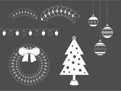 It's Beginning To Look A Lot Like… bauble wreath lights tree christmas illustration illustrator vector assets design