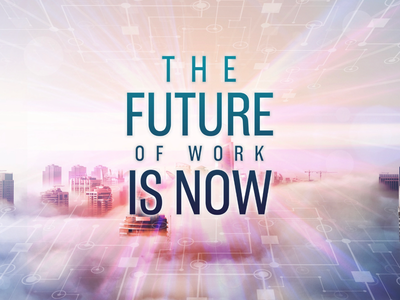The Future of Work is Now (Concept 2 - WIP) tech technology modern graphics graphic design clouds city design work future