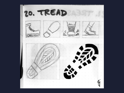Inktober Day 20 : Tread shoe foot print boot footprint logodesign logo design logo ux ui icon design icondesign icon tread inktober2019 inktober