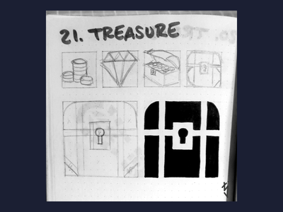 Inktober Day 21 : Treasure loot marker map icon map logodesign logo ui ux icondesign icon treasure chest chest treasure inktober inktober2019