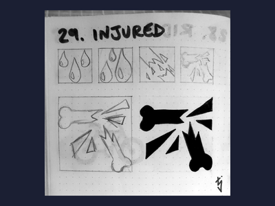 Inktober Day 29 : Injured injured injury fracture broken bone icon icondesign icon design ux ui inktober inktober2019