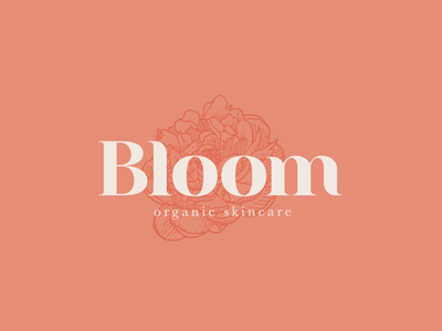 Bloom Organic Skincare peony flower design flower logo design logodesign branding design illustration logo