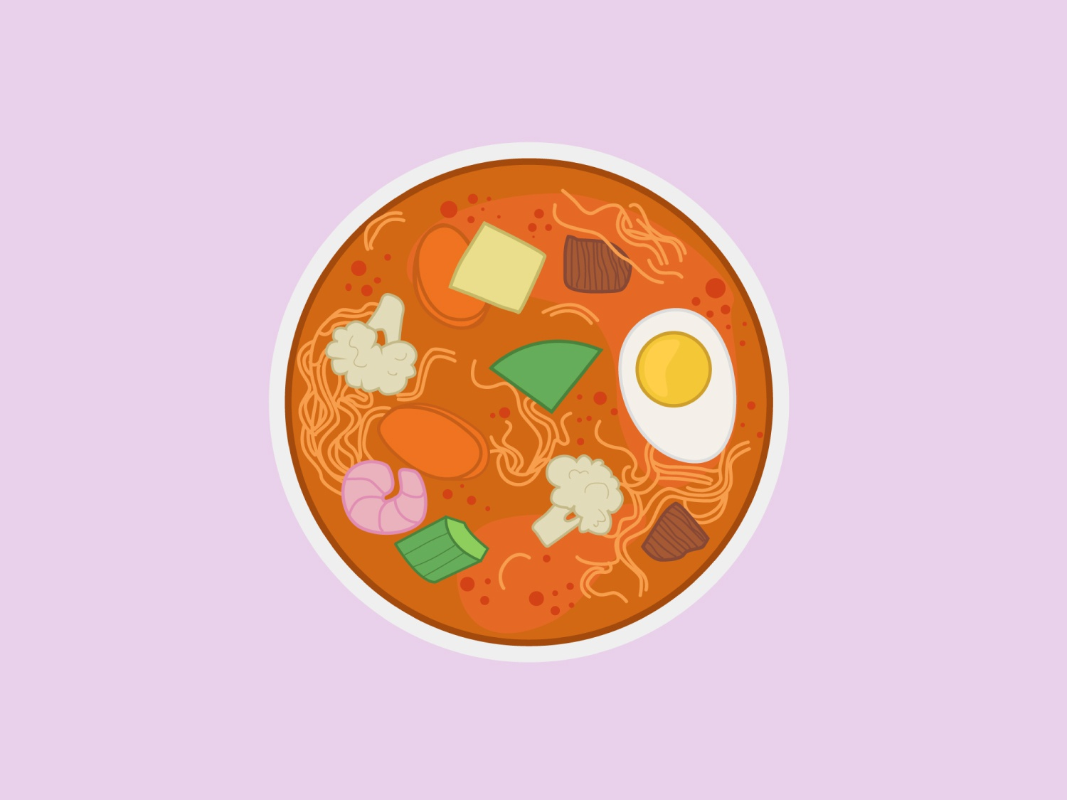 Laksa vector soup laksa illustration design