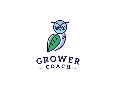 Grower Coach logo design owl logo owl logo