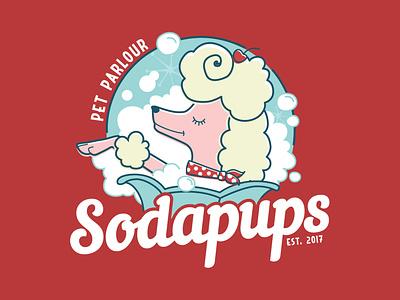 Sodapups Pet Parlour dog logo dog grooming logo design illustration design logo