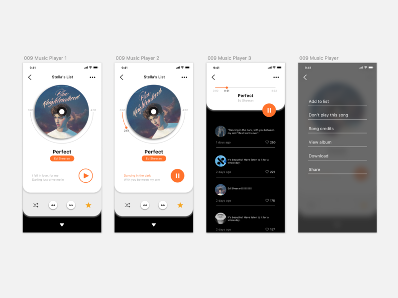 Daily UI 009_Music Player app design ux ui