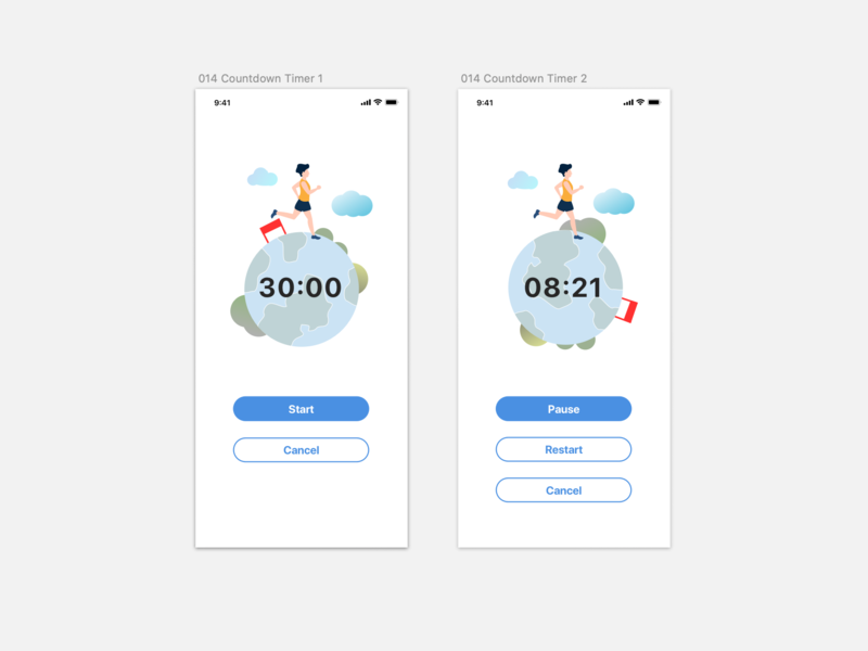 Daily UI 014_Countdown Timer illustration app ux design ui