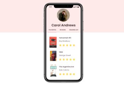 User Profile - Reading List Mobile App