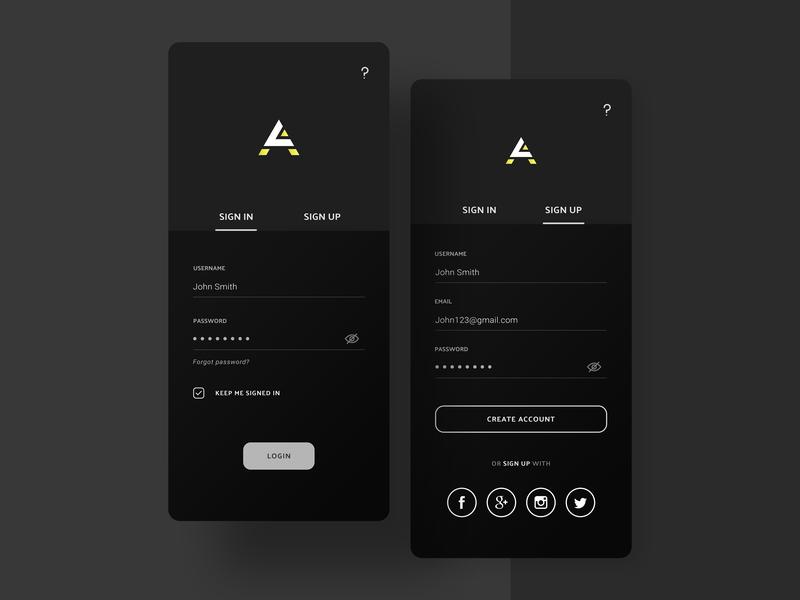 Elegant Sign In / Sign Up UI sign in screen create account account dark grey luxury elegant login register sign up sign in app design mobile
