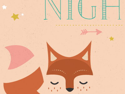 Night Fox fox sleep night children illustration sleepy naive naive inline slab text