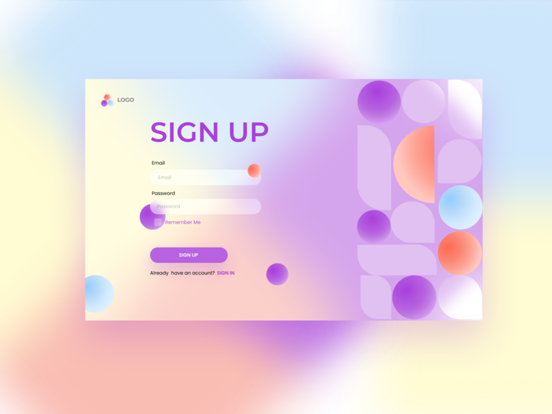 Sign-Up Form colorful adobexd adobe background design blurred blurry blur ui clean design desktop forms form minimal patterns sign in signup
