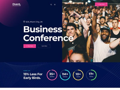 Ovent Business Conference Website clean colorful ux ui design one page onepage website landing page landingpage 2019 design meetup website club website event website conference website conference