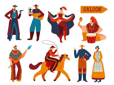 Vector illustration.  Wild West characters vector illustration design
