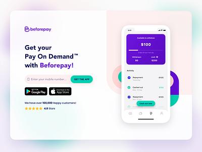 Beforepay website light version design app