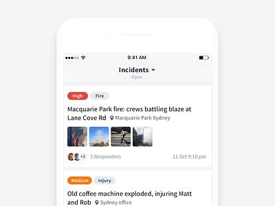 Spotlight Incident List spotlight mobile list