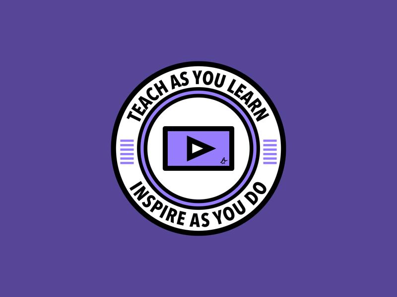 Teach & Inspire video play patch design vector illustration branding logo