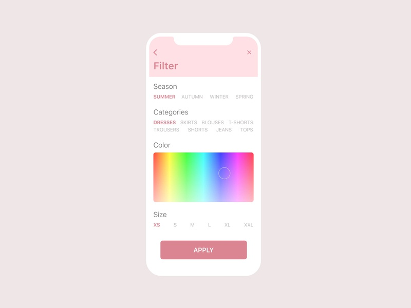 Daily UI 007 - Settings mobile design composition store shop clothing filter shopping iphonex uxui webdesign figmadesign figma web ux design daily ui uiux ui dailyuichallenge dailyui