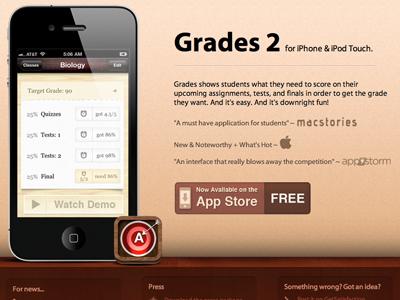 Grades 2 Site iphone app website promo