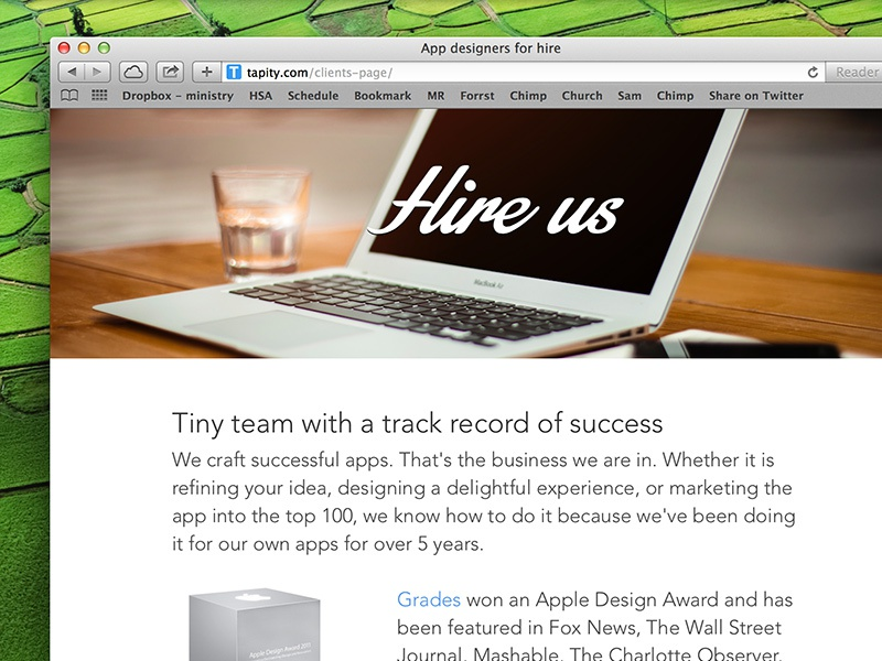 Tapity - Hire Us page web hire client website responsive iphone app design