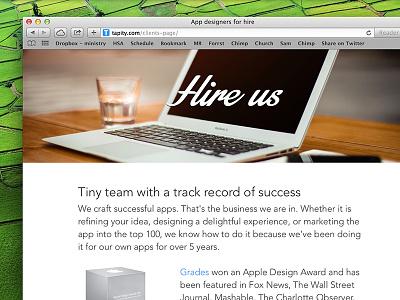 Tapity - Hire Us page web hire client website responsive iphone app design