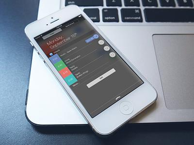 Hours iOS 8 widget ios 8 hours app design ui notification center time tracking tracker