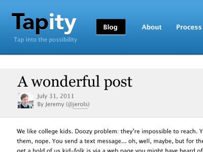 Tapity Redesign blog web header blue