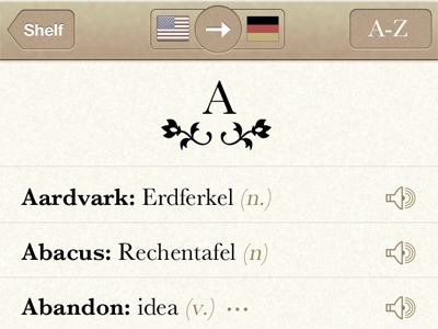 Languages Iteration #3 ios ui app iphone translation dictionary mobile topbar texture