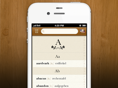 Languages - Dictionary View wood app ui languages translation paper iphone
