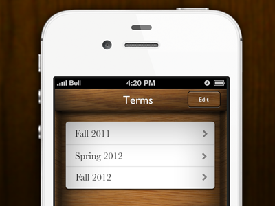 Grades Pro Theme ios iphone ui user interface wood brown tableview paper