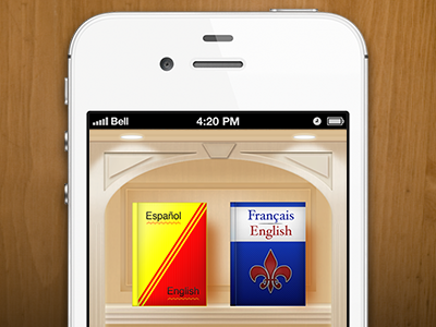 Languages Shelf wood app ui languages translation iphone ios