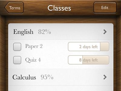 Grades Classes wood app ui paper grades iphone ios
