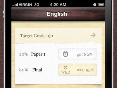 Grades 2 Preview iphone ui ios wood paper shadow app