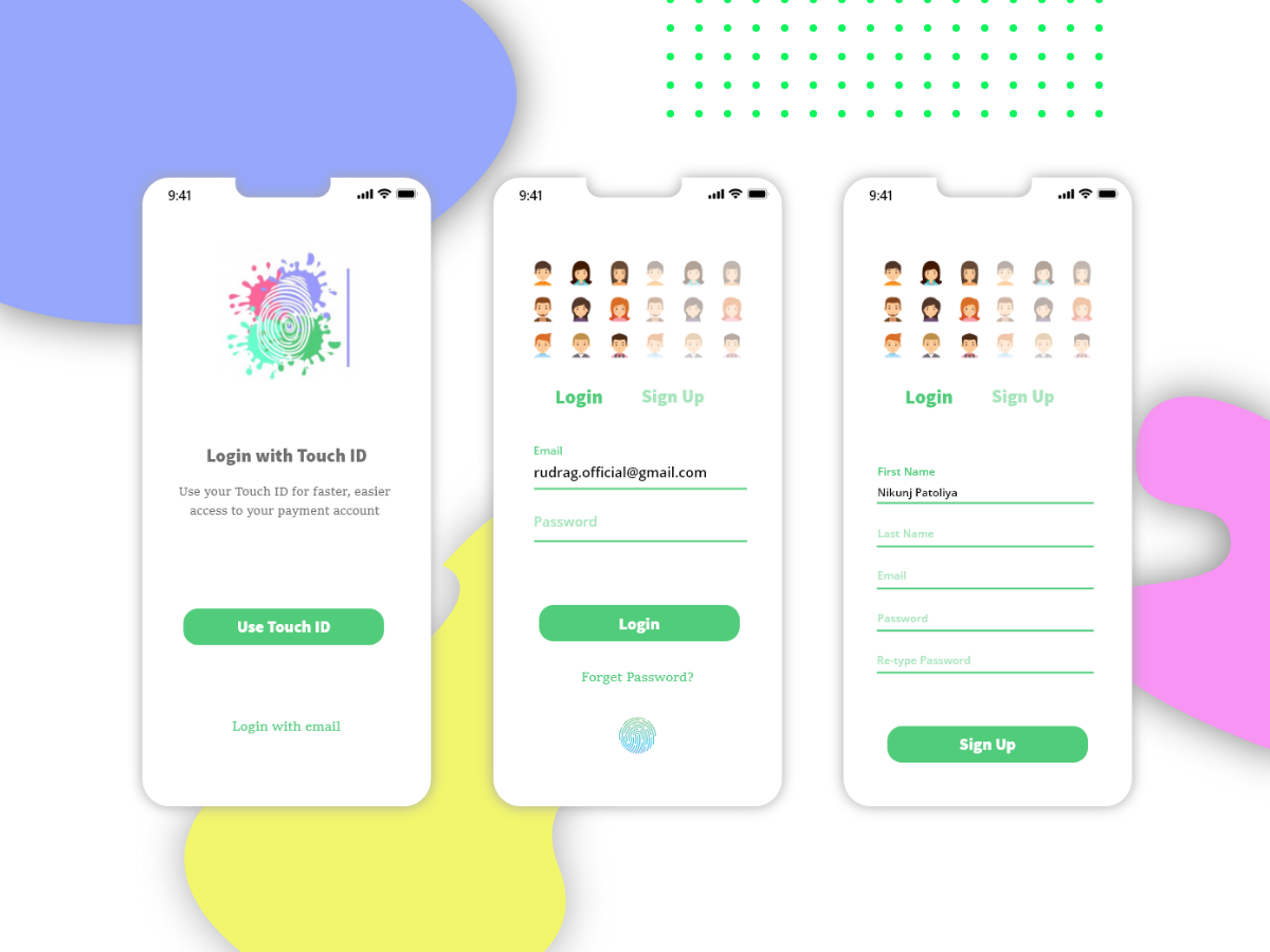 Sign-in & Sign-up UI Page for ios. ios app adobe xd ui