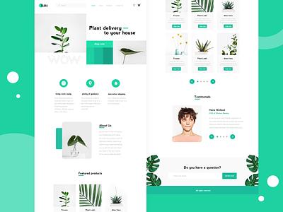 Plant E-commerce Website green website typography vector landing page design plant shop e-commerce website e-commerce landing page webdesign bright ui ux