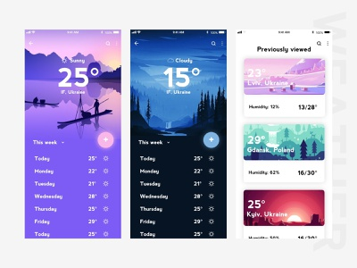 Weather App UI weather forecast weather app ios app android ios design appdesign flat app ux vector ui design illustration