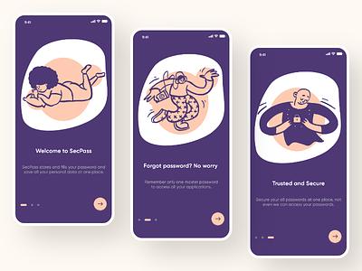 Onboarding UI - SecPass password manager security app doodles screens onboarding screen onboarding illustration android app design android iosapp ios uiux design