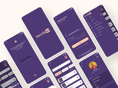 Password manager app - SecPass management app app design ui kit design ui kit password password manager security app iosapp android app design android