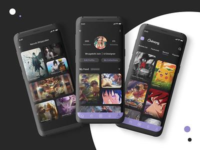 Animepy - Dark mode community app figma anime app photos wallpaper app android app app designer ui android app design ios android iosapp uiux design
