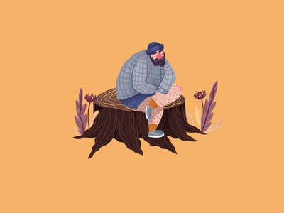 forest stickers man plants forest illustration flat illustration character design character