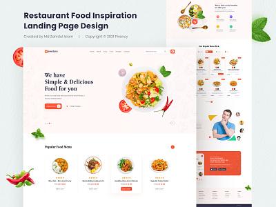 Restaurant Food Inspiration Landing Page food inspiration website foodlandingpage uidesign website landingpagedesign restaurant food ux design land ui