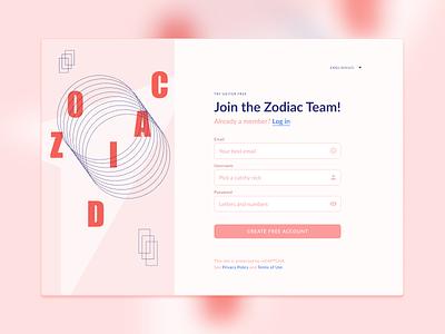 DailyUI 001 onboarding login graphic design zodiac designchallenge 001 dailyui ui